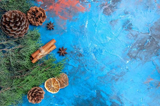Vista dall'alto rami di pino con coni bastoncini di cannella semi di anice fette di limone essiccate su superficie blu-rossa