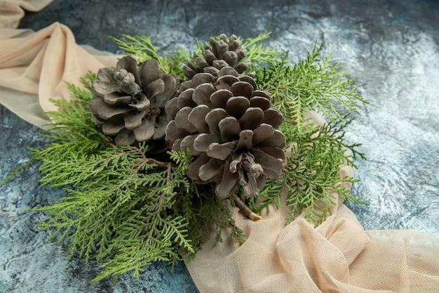 Rami di pino di pigne di vista superiore sullo scialle beige sulla superficie scura