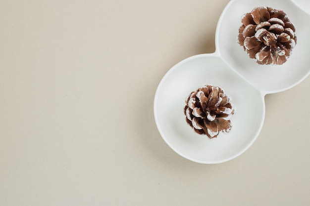 Top view of pinecones in white bowls
