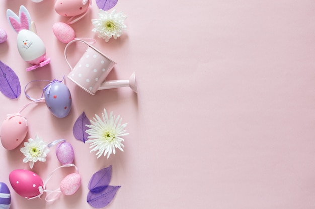 Top view of pink arrangement decoration happy easter holiday background concept with copy space