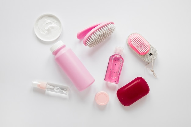 Top view of pink bath products