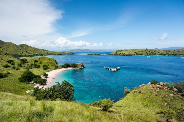 Top view of pink beach with turquoise clear water in komodo island