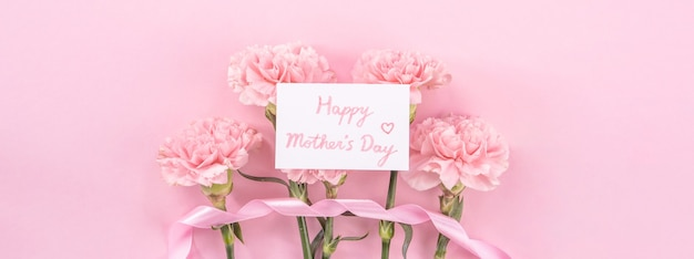 Top view of pink carnation on pink table background for mother's day flower
