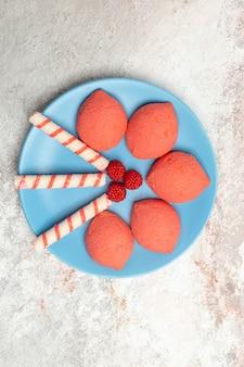 Pan di zenzero rosa vista dall'alto all'interno della piastra su sfondo bianco torta biscotto torta dolce biscotto di zucchero