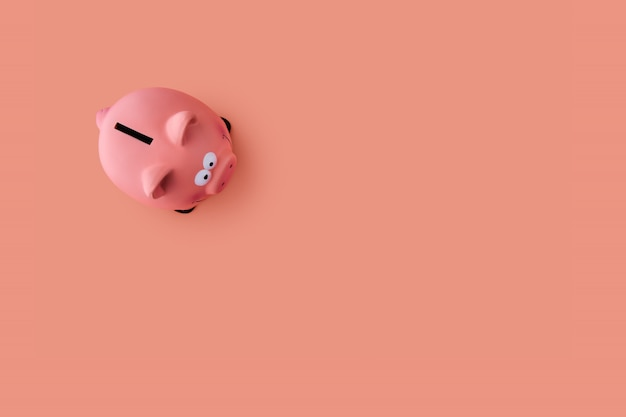 Top view of pink piggy bank