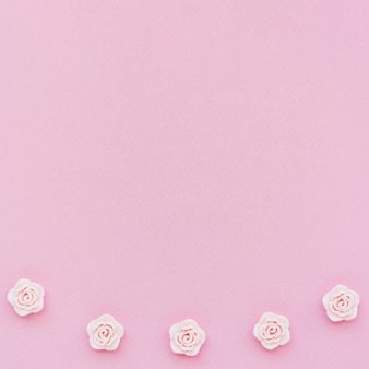 Top view of pink spring roses with copy space