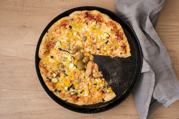 Top view pizza in pan
