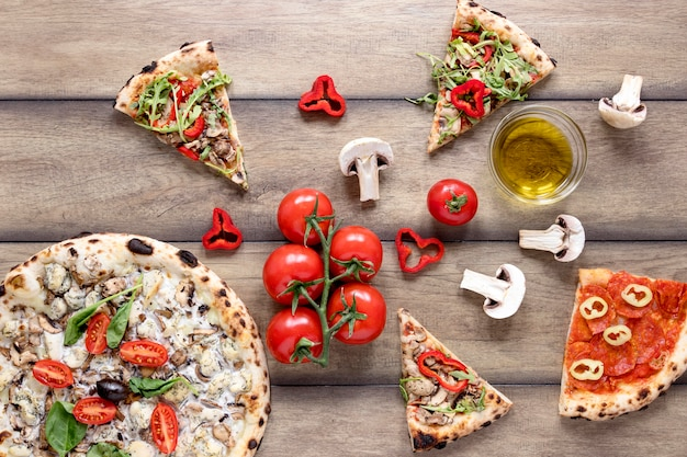 Top view pizza topping arrangement