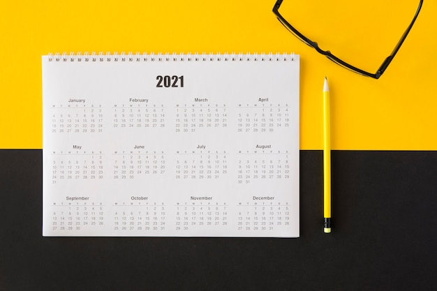 Top view planner 2021 calendar and reading classes