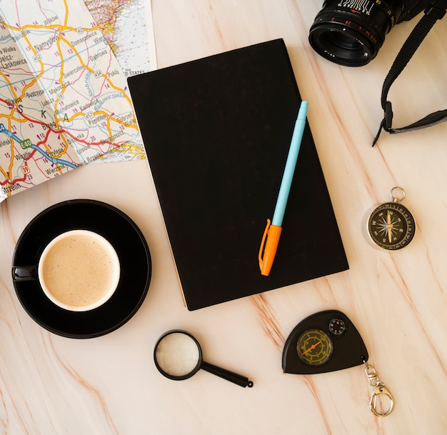 Top view planning  trips agenda