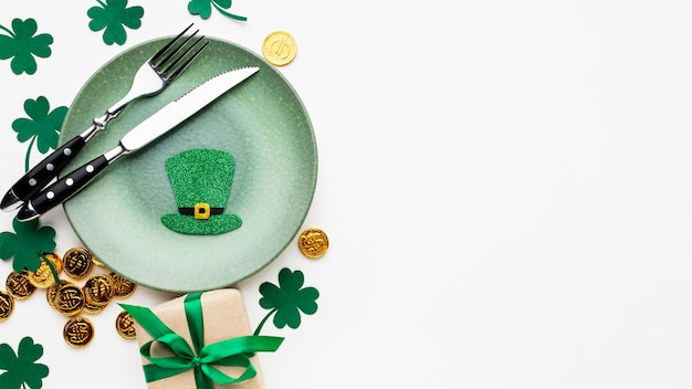 Top view plate and cutlery st patrick day