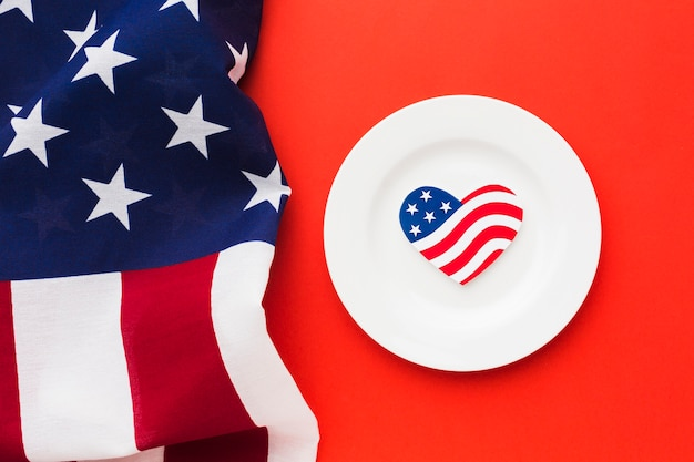 Top view of plate with american flags