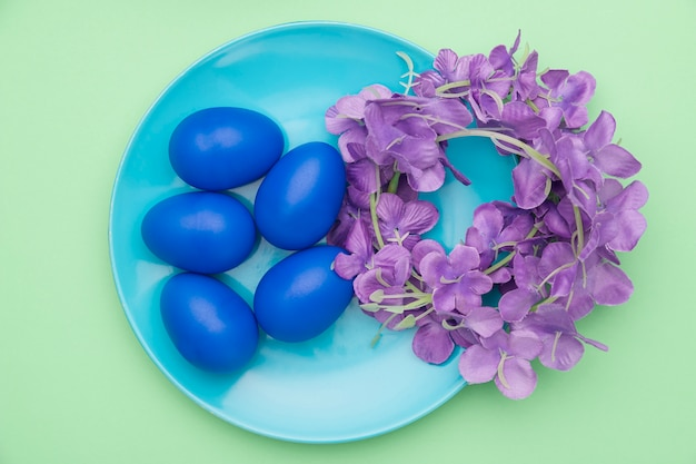 Top view plate with blue colored eggs