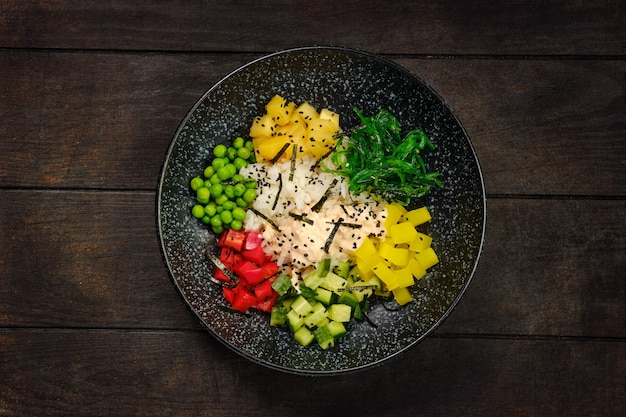 Top view of plate with salad ingredients
