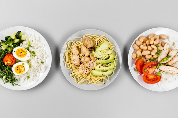 Top view of plates with different meals