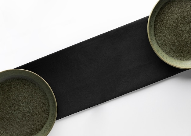 Top view of plates with napkin