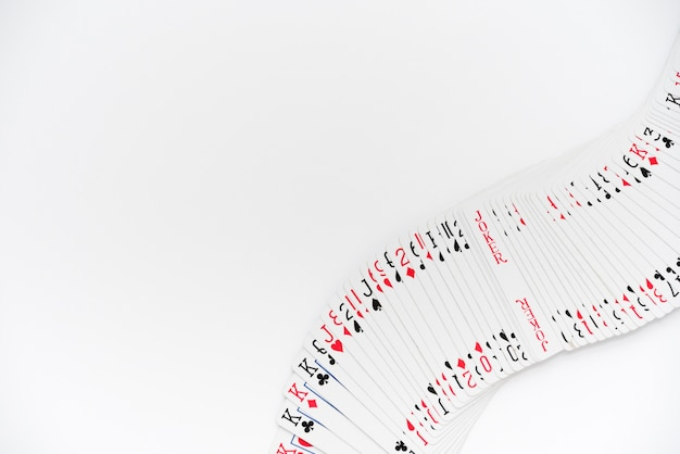 Top view playing cards on white background