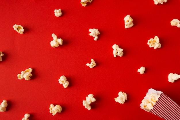 Top view popcorn assortment on red background