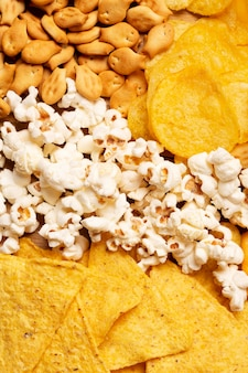 Top view popcorn and chips arrangement