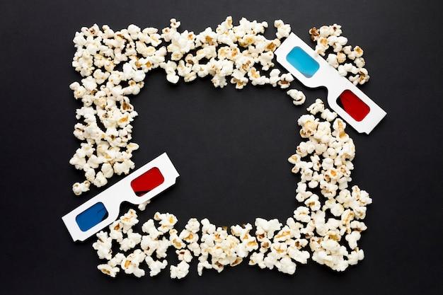 Vista dall'alto della cornice di popcorn con spazio di copia