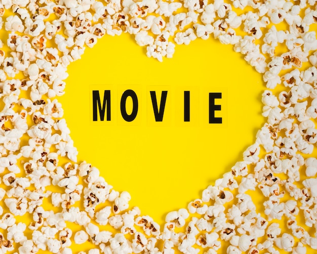 Top view popcorn heart shape on table