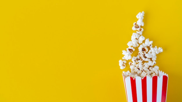 Top view popcorn with copy space