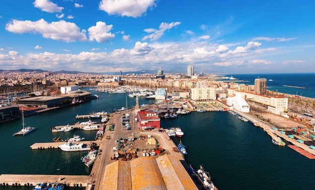Top view of port vell. barcelona