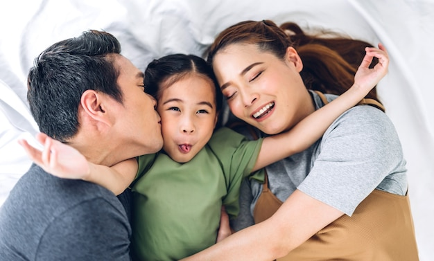 Top view of portrait happy smiling asian family