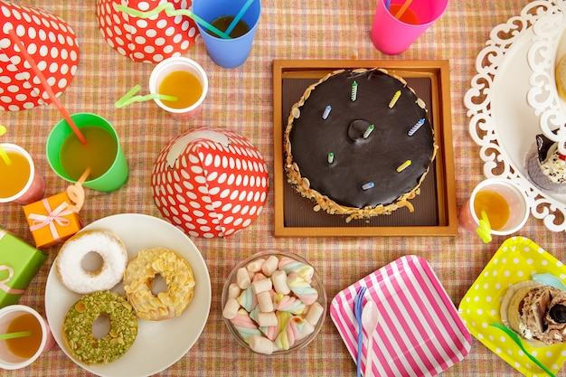 Top view portrait of table set up for child's party