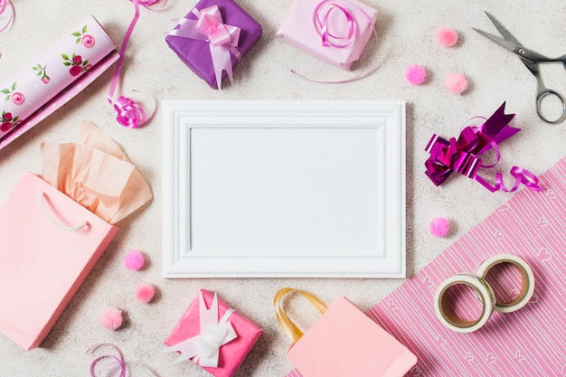 Top view of presents with frame