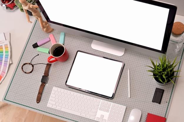 Top view professional creative graphic designer studio desk