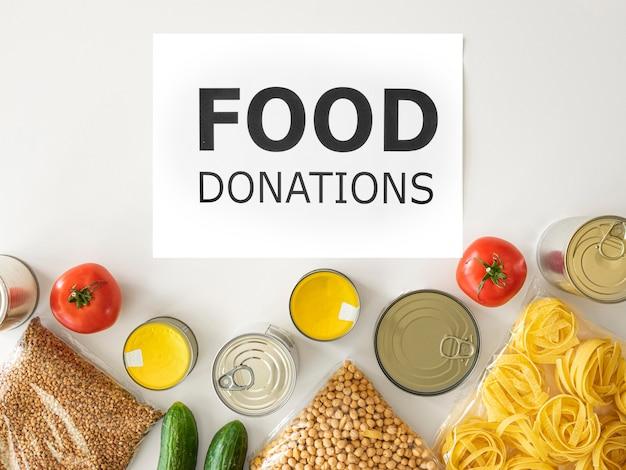 Vista dall'alto delle disposizioni per la donazione