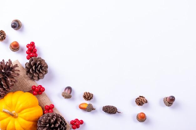 Top view of pumpkin, red berries and pine cones
