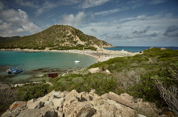 Top view of punta molentis beach in southern sardinia: a natural paradise ideal for spending summer holidays in total relaxation and in harmony with nature.