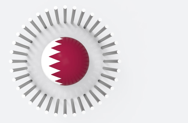 Top view of qatar country flag sphere surround by steel pipes. qatar diplomatic crisis con
