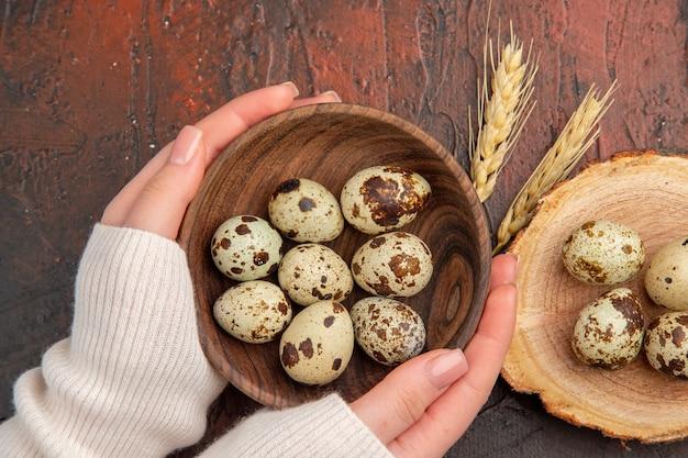 暗いテーブルの上のプレートの内側のウズラの卵の上面図写真色鳥の餌鶏の健康的な生活の女性
