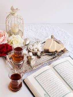 Top view of quran festive table