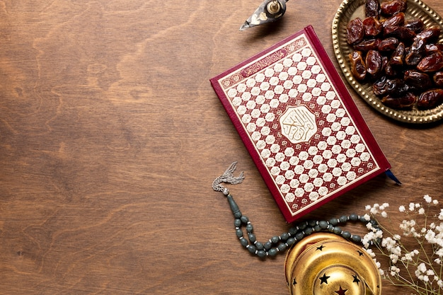 Top view quran with copy space