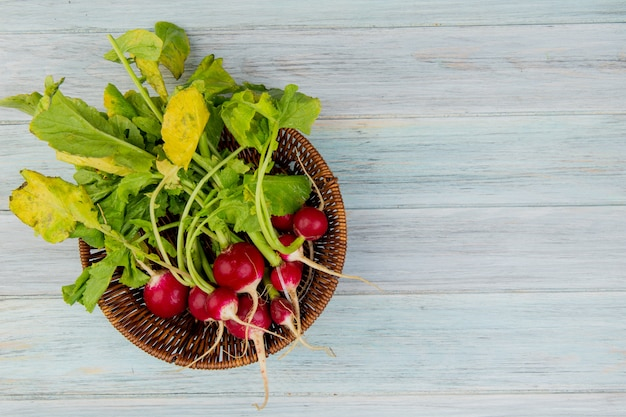 Top view of radishes in basket on left side and wooden background with copy space