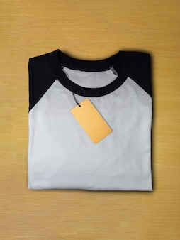 Top view raglan sleeve t-shirt with tag price