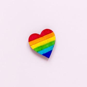 Top view rainbow heart