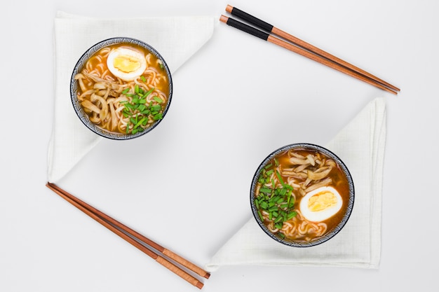 Top view of ramen bowls