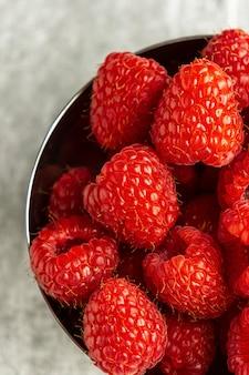 Top view raspberries arrangement