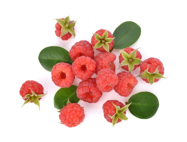 Top view of raspberries isolated on white