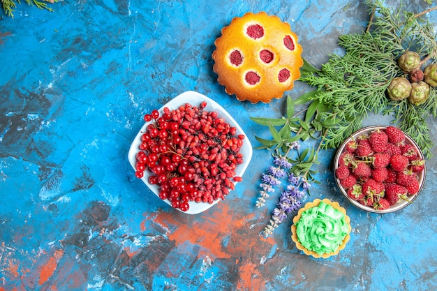 Top view of raspberry bowl, small tart, currants and barberries in bowl, berry cake and tree branches on blue surface