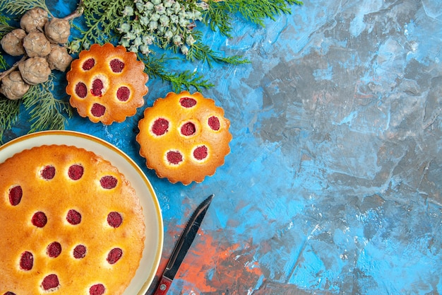 Top view of raspberry cake with branches and knife on blue surface