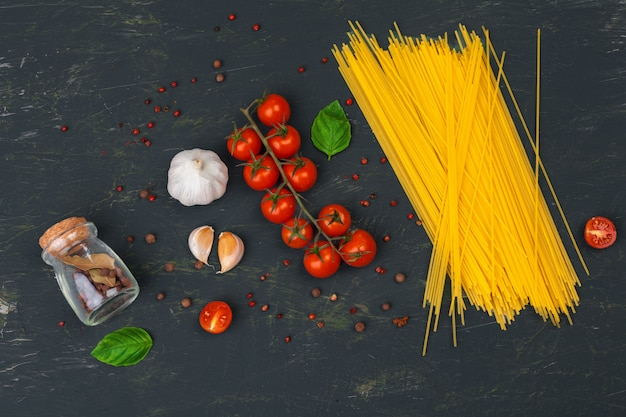 Top view of raw italian pasta