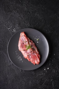 Top view of raw meat concept