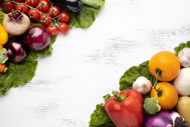 Top view raw vegetables composition