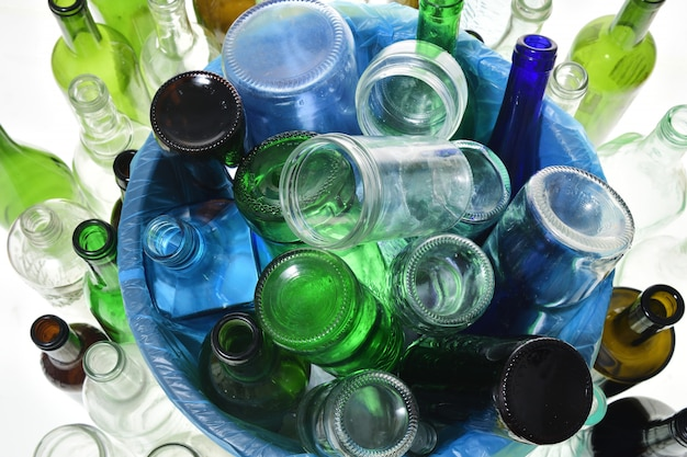 Top view of recycling glass on white